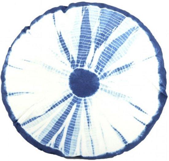 Kussen Blauw Wit.Rond Nautisch Kussen Blauw Wit 40 Cm