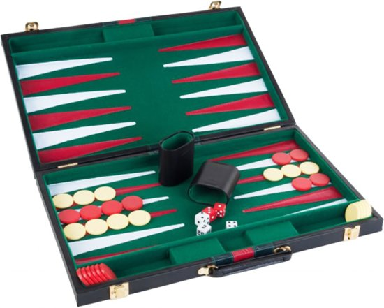 Longfield Games Backgammon 18 Inch Piping - Rood/Groen