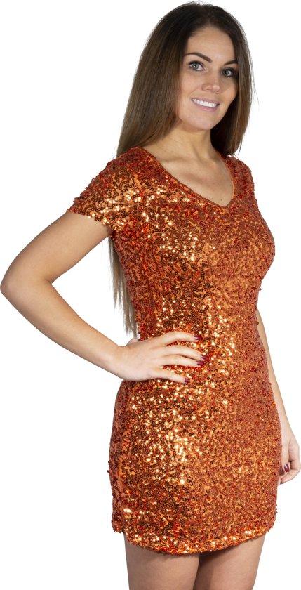 Pailletten jurkje oranje S/M