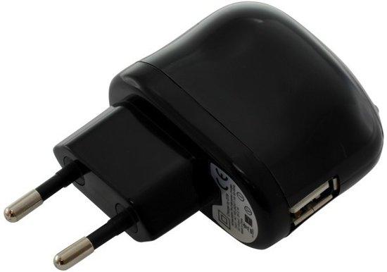OTB Compacte stopcontact USB adapter - 2,1A 5V (100-250V) met Power LED - zwart