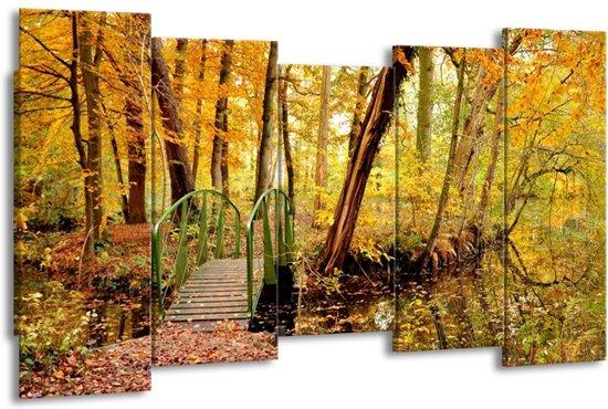 Canvas schilderij Natuur   Geel, Bruin, Groen   150x80cm 5Luik