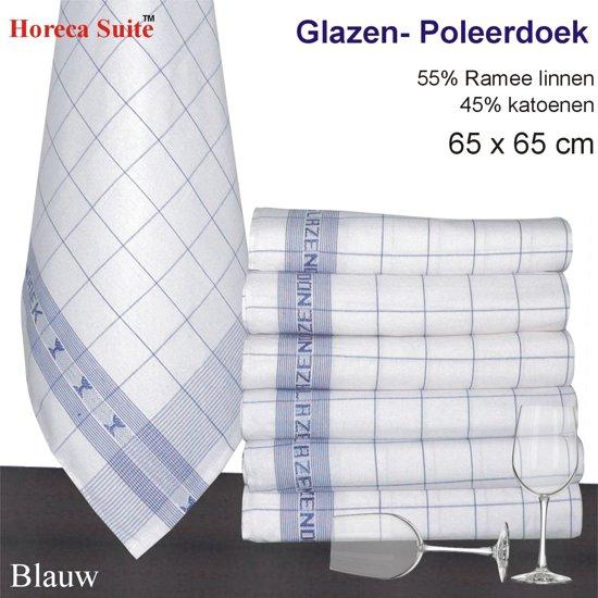 Homéé® Glazendoek - Poleerdoeken jacquard Blauw ruiten 65x65cm - set van 6 stuks - 50% Ramee linnen 50% katoen