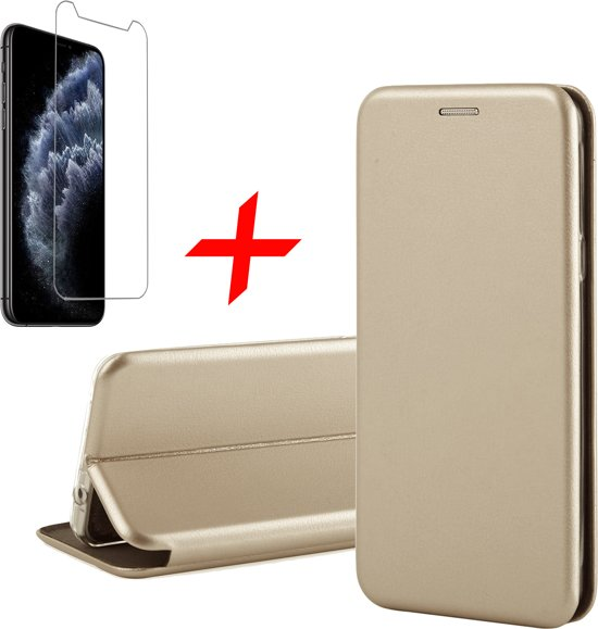 iPhone 11 Pro Max Hoesje + Screenprotector Case Friendly - Book Case Flip Wallet - iCall - Goud