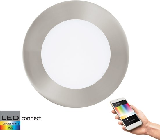 EGLO Connect Fueva-C - Inbouwarmatuur - Wit en gekleurd licht - Ø120 - Nikkel-Mat