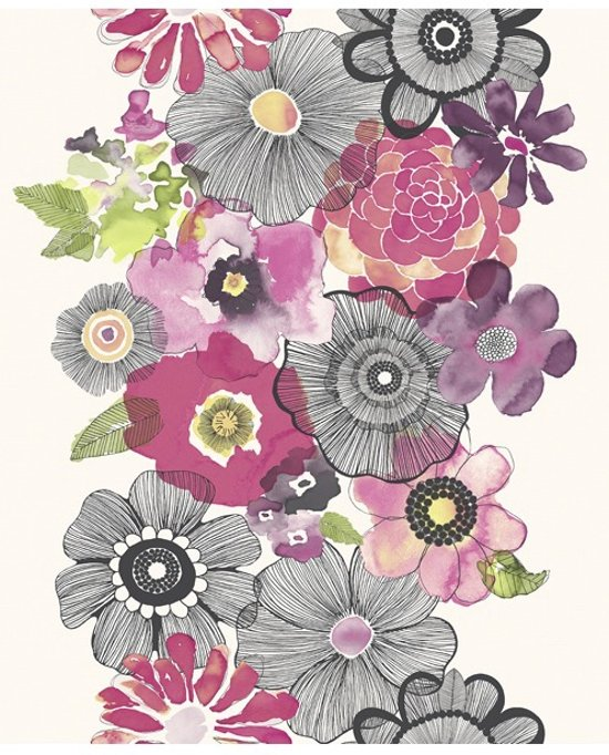 Bedwelming bol.com | Village People bloemen roze/zwart behang (vliesbehang, roze) @RL04