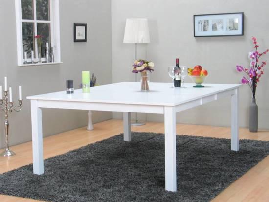 Eetkamertafel Vierkant Wit : Witte vierkante tafelpoten prachtige witte eettafel met stalen