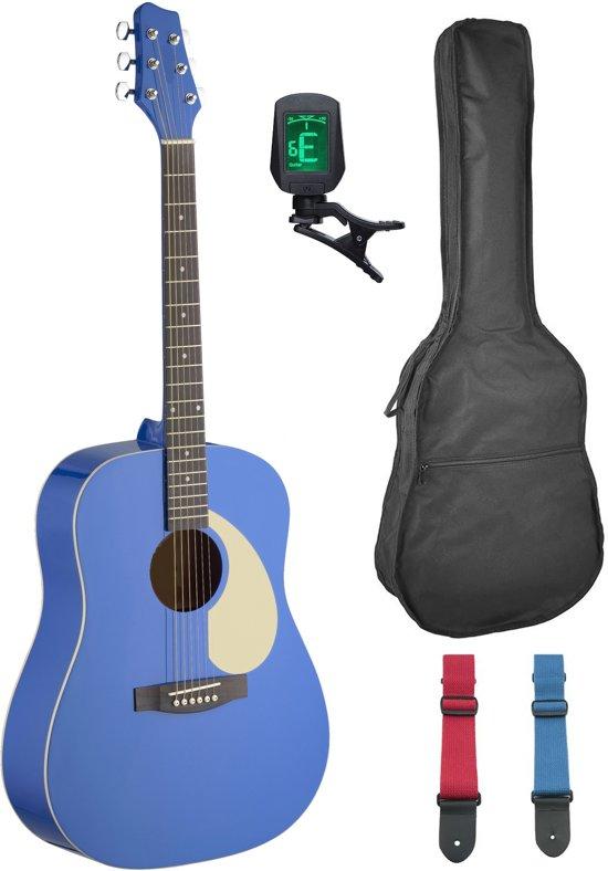 Nieuw bol.com   western gitaar W3BL dreadnought blauw met gitaarzak FR-81