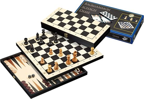 Schaak/Dam/Backgammon Kassette Veld 30 mm, Koningshoogte 48 mm