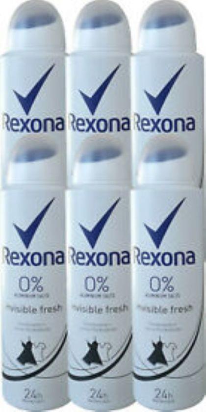 Rexona Invisible Black & White Deo Spray 0% - Voordeelverpakking 6 x 150 ml