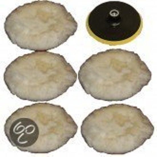 5 polijstvellen schijf wol pad met 180mm steunpad 400091