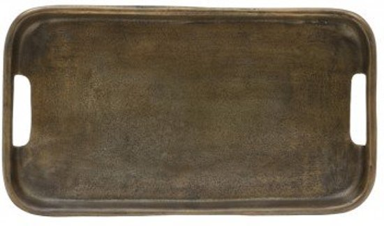 Dienblad antiek brons rechthoek metaal - 42x24cm