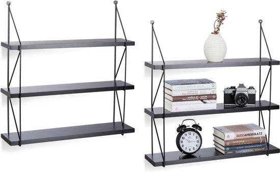 Wandplank Zwart Metaal Hout.Relaxdays 2 X Wandrek 3 Etages Mdf Hout Met Metalen Frame Wandplank Fotoplank Zwart
