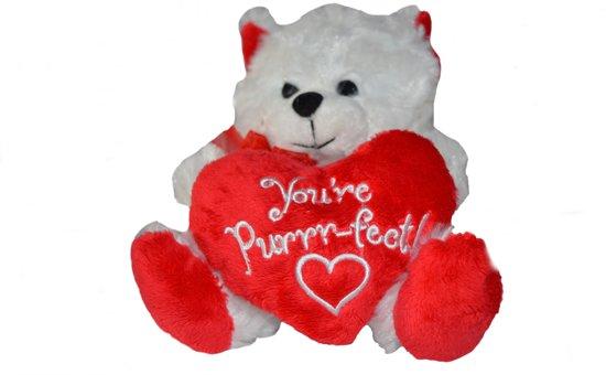 Valentijn wit beertje 'You're purrr-fect !