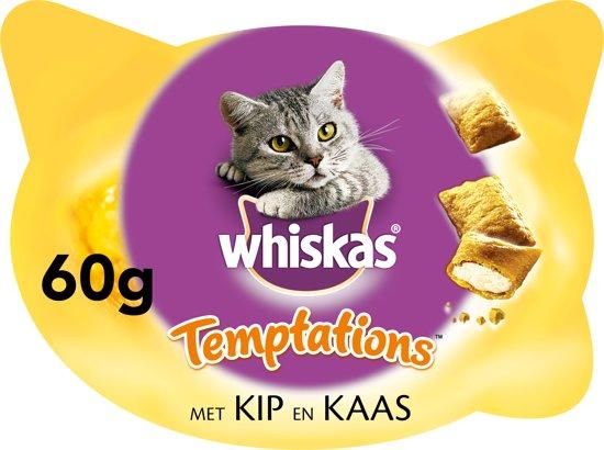Whiskas Temptations Kip/Kaas Kattensnoepjes - 8 x 60 gr