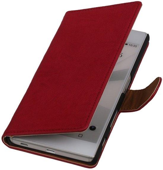 Hoesjes Cases - Fuchsia echt leder Booktype voor de Sony Xperia Z5 bookcase in Saint-Remy-Geest