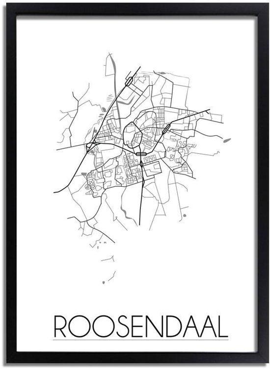 DesignClaud Roosendaal Plattegrond poster A3 + Fotolijst zwart