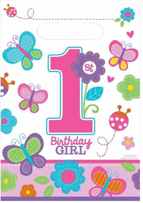 Nieuw bol.com   Uitdeelzakjes 1e verjaardag meisje (8st) AM-25