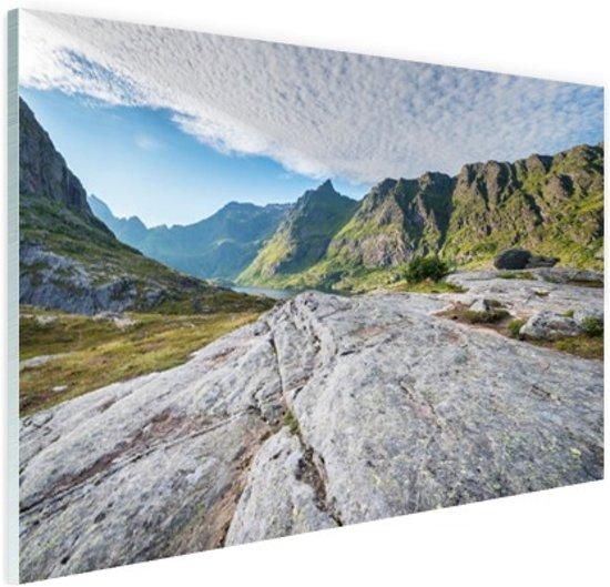 Noors berglandschap Glas 60x40 cm - Foto print op Glas (Plexiglas wanddecoratie)