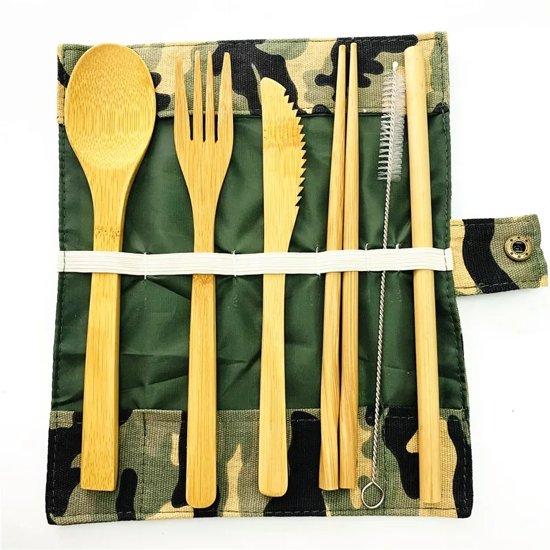 Bamboe bestek - 8-delige set - Camouflage - 1 persoons