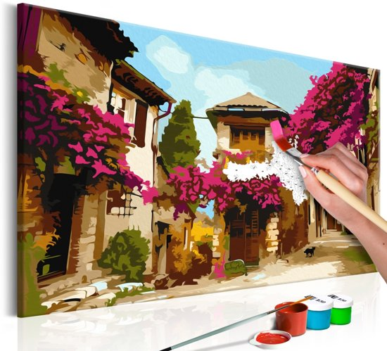 Doe-het-zelf op canvas schilderen - Mediterrane Dorp 60x40