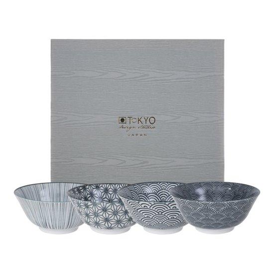 Tokyo Design Studio Nippon Black Rijstkom Set van 4 - Ã 27 cm
