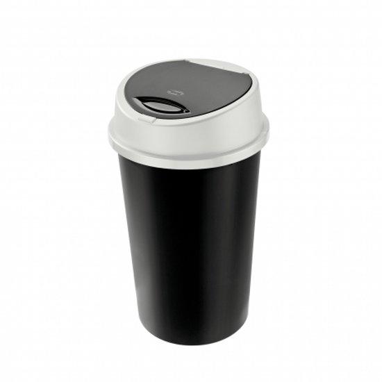Tontarelli Afvalemmer Bingo 45 liter met push deksel wit / zwart