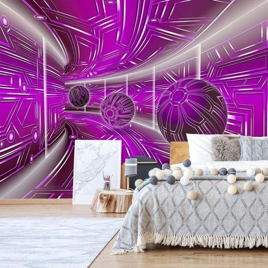 Fotobehang Modern 3D Tech Tunnel Purple   VEXXL - 312cm x 219cm   130gr/m2 Vlies