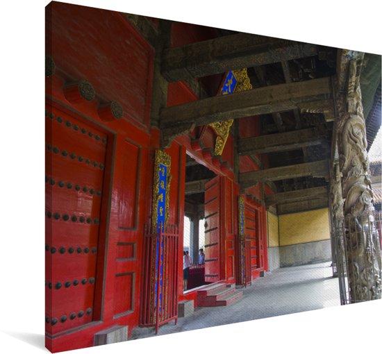Een gang van de Confuciustempel van Qūfù Canvas 90x60 cm - Foto print op Canvas schilderij (Wanddecoratie woonkamer / slaapkamer)