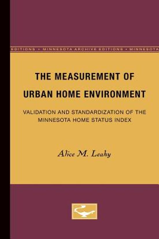 The Measurement of Urban Home Environment