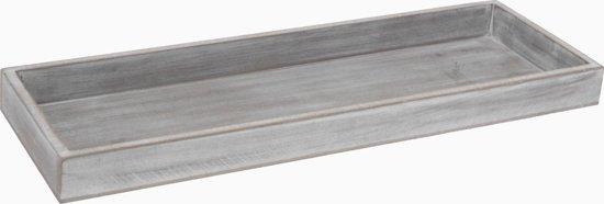 Houten plateau / dienblad antiek grijs 14 x 40 cm