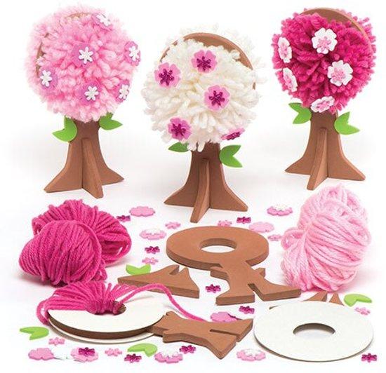 Sets met bomen met pompons en lentebloesems voor kinderen – Leuke knutsel- en decoratiesets voor in de lente voor jongens en meisjes (3 stuks per verpakking)