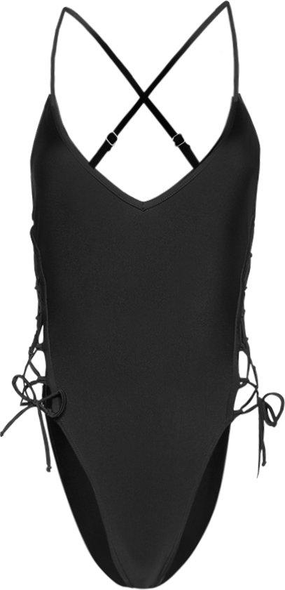 Zwart Badpak Open Rug.Bol Com Sapph Badpak Metallish Bathingsuit Lace Up Black L
