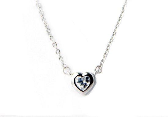 Fate Jewellery Ketting FJ429 - Zirkonia Silver Heart - 45cm + 5cm - Zilver met zirkonia kristal