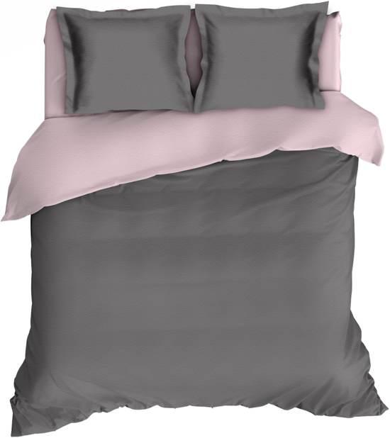Warme Flanel Dekbedovertrek Uni Antraciet/Roze   200x200/220   Heerlijk Zacht En Soepel   Ideaal Tegen De Kou