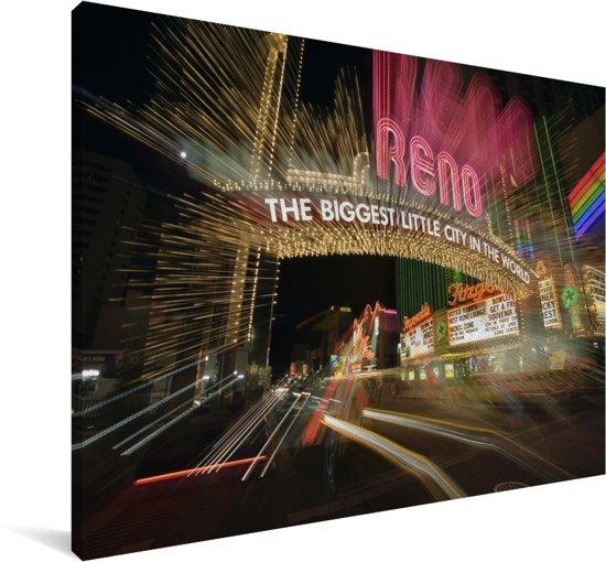 Neonkleuren in de stad Reno in de Verenigde Staten Canvas 180x120 cm - Foto print op Canvas schilderij (Wanddecoratie woonkamer / slaapkamer) XXL / Groot formaat!