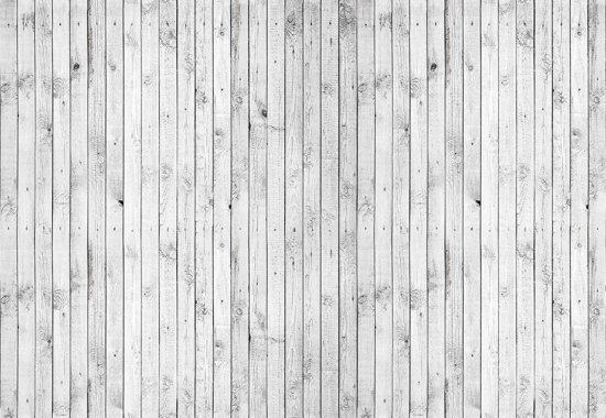 Fotobehang Black White Wooden Planks | L - 152.5cm x 104cm | 130g/m2 Vlies