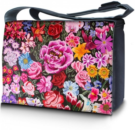Laptoptas / messengertas 15,6 bloemen print - Sleevy