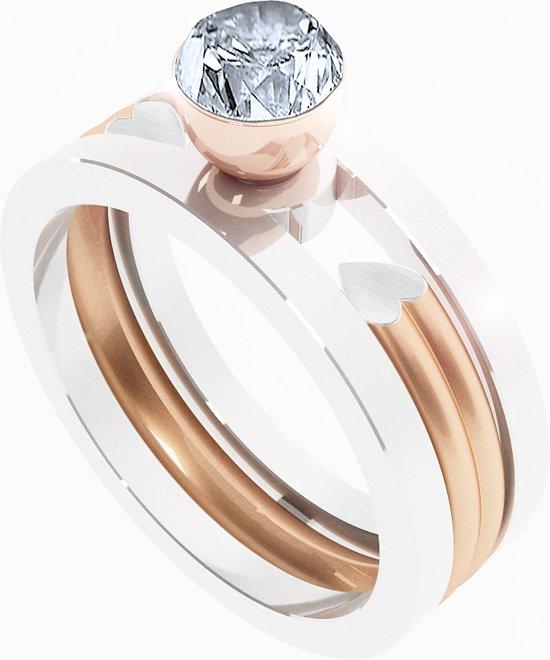 Melano twisted ringen set - dames - zilverkleurig - maat 54
