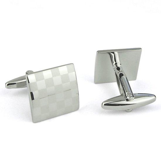 Manchetknopen - Vierkant Mat/Glans - Vierkant - Zilverkleurig