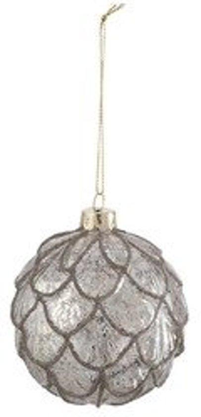 Set van 4 Kerstballen Schubben Glitter Glas Antiek Zilver