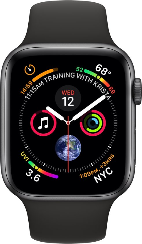 Apple Watch Series 4 - 44 mm - spacegrijs met zwart bandje