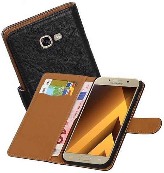 Samsung Galaxy A5 (2017) Hoesje Washed Leer Bookstyle Zwart