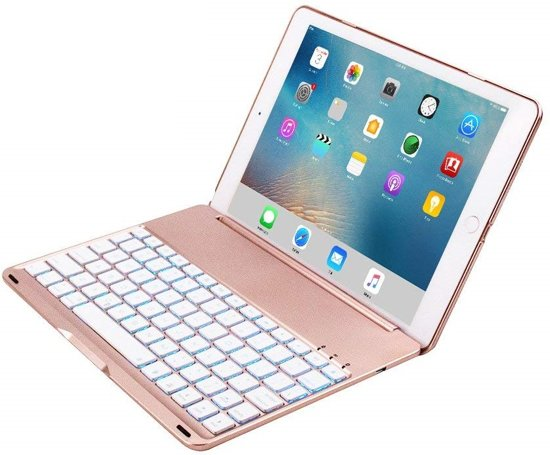 iPad Air 2/Pro 9.7 Toetsenbord Hoes AZERTY Keyboard Case Cover - Roze