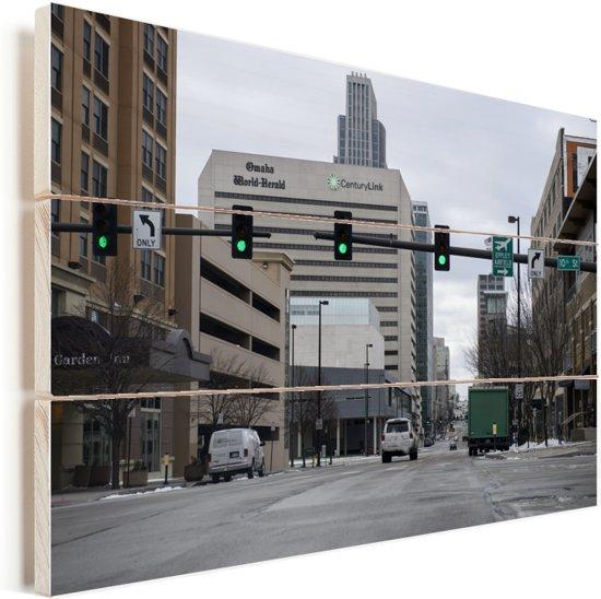 Rustige straat in het Amerikaanse Omaha Vurenhout met planken 120x80 cm - Foto print op Hout (Wanddecoratie)