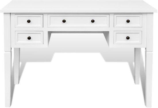 Bureau Wit Met Hout.Bureau Wit Hout Desk Make Up Tafel Halkast Sidetable Met Lades 109 5x45x77 5cm