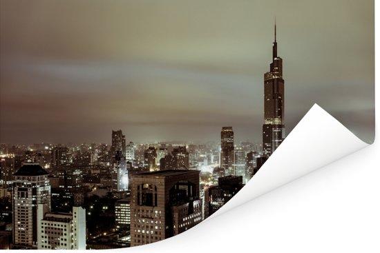 Skyline Nanjing in de avond Poster 90x60 cm - Foto print op Poster (wanddecoratie woonkamer / slaapkamer)