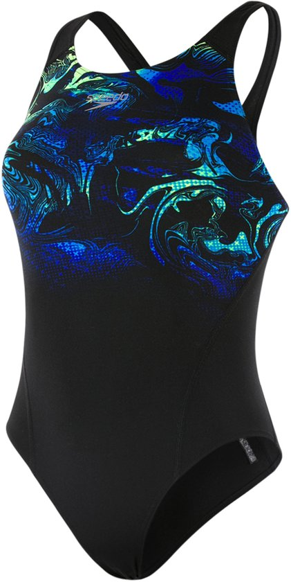 5586c722dbf664 Speedo End Swirly Aqua Placement Recordbreaker Badpak - Maat 38 Volwassenen  - zwart/blauw/