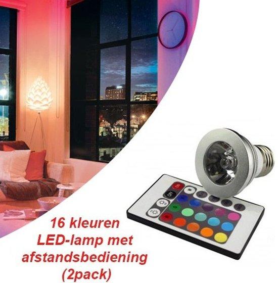 16 kleuren led lamp met afstandsbediening 2pack