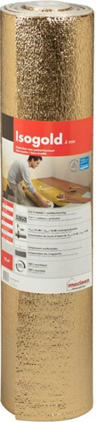 Ondervloer voor laminaat, Isogold 10dB, dikte 4mm, 10m2 per rol, extra geluidsisolerend, zeer geschikt voor appartementen en bovenwoningen