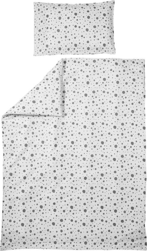 Meyco dekbedovertrek + kussensloop - 120x150 cm - Dots grijs